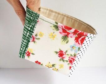 Fabric storage basket - pretty storage box - patchwork storage basket - fabric bowl - catchall - vintage style storage - gift for her