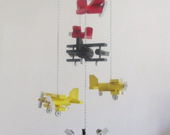 Red / Yellow and Black Recycled Wood Airplane Mobile with Six Different Planes - Ages 0 - 99+