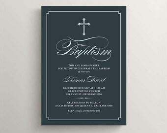 Printable Baptism Invitation \ Boy Baptism Invite \ Blue (RD35)