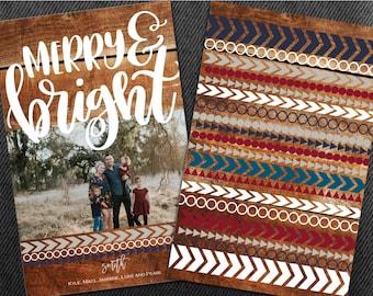 Tribal Christmas Cards, Photo Christmas Cards, Aztec Christmas Cards, Wood Christmas Cards, GEO Christmas Cards, Rustic Christmas Cards