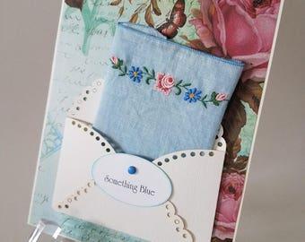 Vintage Hankie Card Something Blue Happy Tears Bridal Keepsake Gift Embroidered Handkerchief Ladies Accessory Hanky