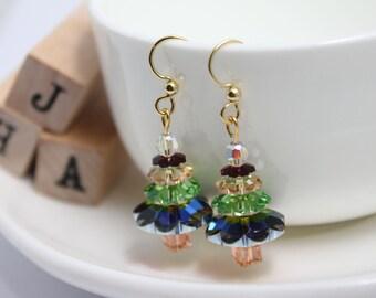 Swarovski Christmas earrings - Crystal gold Christmas tree