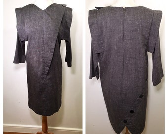 1980s Grey Minimalist Midi Dress Gray Wool Architectural Asymmetrical Dress Button Back Long Sleeve Fall Winter Day Dress Shift Dress