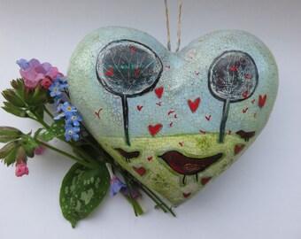 Primitive Art hanging heart in paper mache