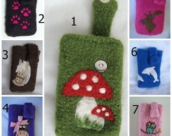 Mobile phone pocket with any motif, with magnetic button