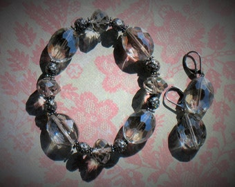 Pewter Faceted Glass Bracelet and Earring Set