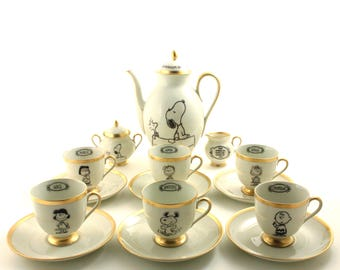 Peanuts, Peanuts Snoopy, Peanuts Party, Snoopy and Woodstock, Porcelain Cups, Espresso Cups, Cartoon Art, Coffee for 6, Coffee Set, Schulz
