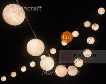 20 Cotton Balls White Color Fairy String Lights Party Patio Wedding Floor Table or Hanging Wall Gift Home Decor Living Bedroom Holiday Night