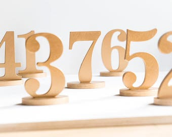 Wooden table numbers, free standing wedding table numbers, DIY, unpainted, gold , silver, white, custom colors