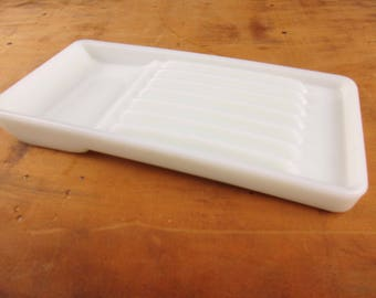 Vintage Dentist's Tray - White Milkglass Tray From a Dental Cabinet - Grooves and a Dip - Useful For Kitchen - Conversation Piece