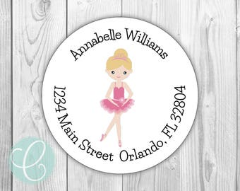 """Ballerina -  Return Address Labels - 2"""" Round Stickers - Glossy or Matte - Ballet Slippers Shoes Pink Girls Baby Girly Sports Baby Shower"""