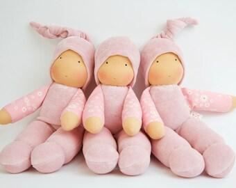 Schmusi, pastel-pink, cuddle doll, 13 inch, soft doll, waldorf doll, steiner doll,