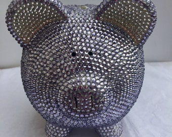 SALE Lavender purple crystal bling piggy bank