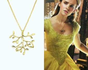 Emma Watson Belle Beauty in the Beast Necklace, Belle Tree Necklace, Gold Beauty in the Beast Branch Necklace, Emma Watson Necklace, Disney