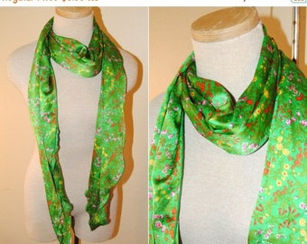 ON SALE Vintage Floral Silk Scarf Green Wildflowers Adorable Long