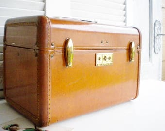 Vintage Samsonite Leather Train Case/Vintage Travel Train Trunk/Makeup Train Trunk/Travel Storage Case/Wedding Card Holder/Home Decor