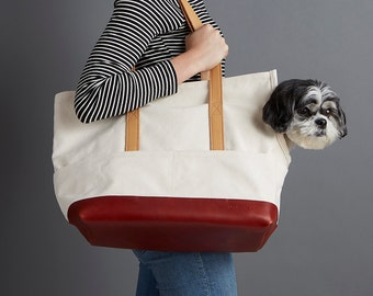 Leather Canvas Pet Tote Natural & Crimson - Dog Carrier