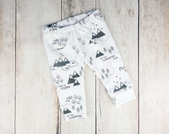 Organic PNW Baby Leggings - Charcoal Gray and White - Organic Cotton Baby Pants - Gender Neutral Print - Pacific Northwest - READY to SHIP!