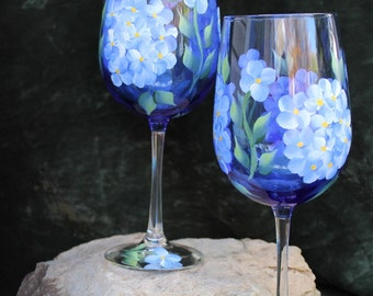 Hand Painted Wine Glasses (Set of 2) - Blue Hydrangea on Cobalt Blue Glass