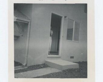 Vintage Snapshot Photo: Woman in Doorway, 1960 (610512)