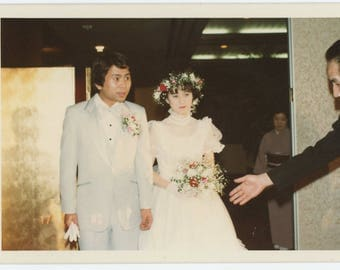 Vintage Snapshot Photo: Japanese Bride & Groom, 1982 (73559)
