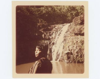 Vintage Snapshot Photo: Woman at Waterfall, c1960s-70s (75574)