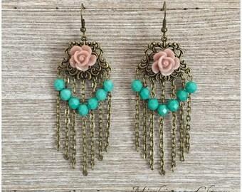 Vintage Inspired Rose Dream Catcher Earrings