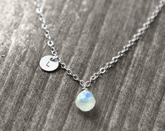 PETITE PIERRE necklace with gem and Initial   silver