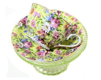 Merit China Floral Chintz Teacup Occupied Japan