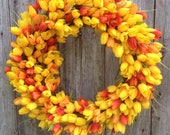 Yellow and Orange Tulip Wreath, Spring Wreath, Summer Wreath, Outdoor Wreath, Grapevine Wreath, Mother's Day