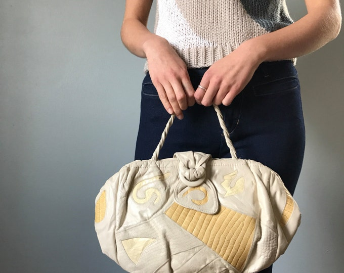 Vintage 80s Nude Leather Oversized Clutch Handbag
