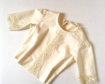 The Olivia Blouse With Lace Trim in White or Ivory  for 6 months - 5T