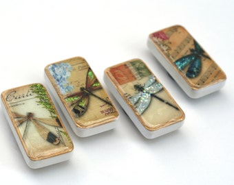 Dragonfly magnets, colorful vintage nature domino magnet set, fun gift ideas, teacher gift