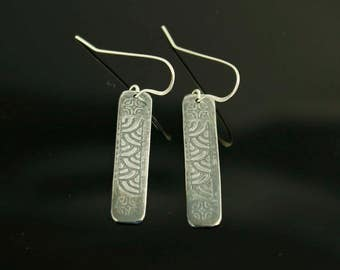 Earrings with Polynesian and Hawaiian Tattoo Design Etched in Sterling Silver
