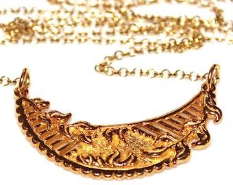 Large Crescent Necklace Gold Medallion Necklace Moon Necklace Floral Necklace Nature Necklace Gold Crescent Medallion Spring Style Cut Out