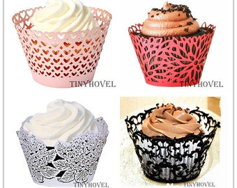 Lace cupcake liner, laser cut cupcake wrapper - Cake Deco, Party Decoration, Packaging-CC009