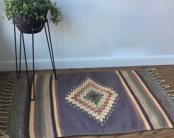 Vintage Southwest Style Area Rug - Small Rug - Muted Tones