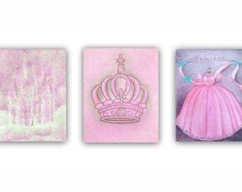Princess Nursery, Royal Crown, Castle Wall Art, Cinderella Dress, SET 3, Princess decor, Baby Girl Nursery, Princess wall art, Pink Nursery