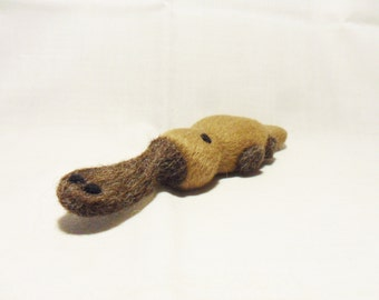 Needle Felted Platypus -  miniature platypus figure - merino & shetland wool - wool felt platypus -miniature animal - felted animal