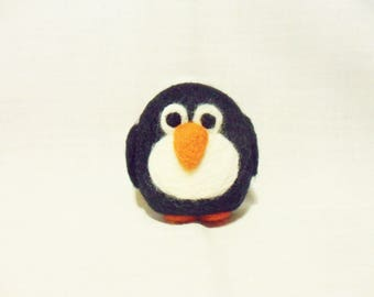Needle Felted Penguin -  miniature penguin figure - 100% merino wool - wool felt penguin - pocket penguin