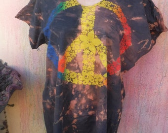 """25% OFF CLEARANCE SALE Peace symbol design over reverse tie dye sleeveless  tee shirt ...small to 50""""chest.."""