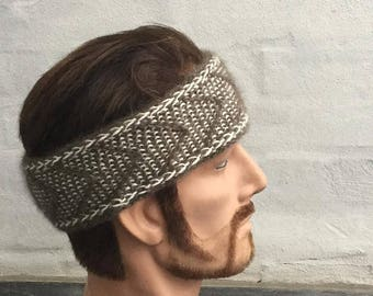 Hand knitted headband knitted with QIVIUT and Suri alpaca