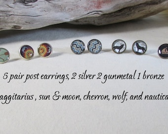 Lot of 5 Pair of Post Earrings - Markdown - Reduced for Clearance - Wolf Chevron Nautical Sun and Moon Sagittarius Post Earrings - Jewelry