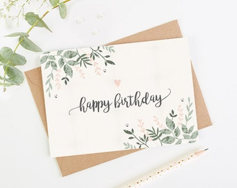 Happy Birthday Card Botanical Blush