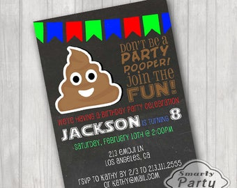 Poop Emoji Birthday Party Invitations Invite Printable Personalized Pooper Customized 5x7 or 4x6