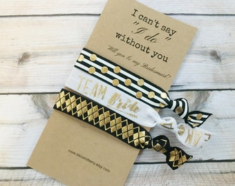 Bridesmaid Gift 3 pcs set - I Can't Say I do without You- Black/White/Gold - Bridesmaid Proposal Gift- Wedding/Bridesmaid/Gift/Wedding Party