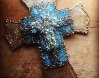 Cross Crosses gift hand made hand painted found object religious art Christian catholic art gift