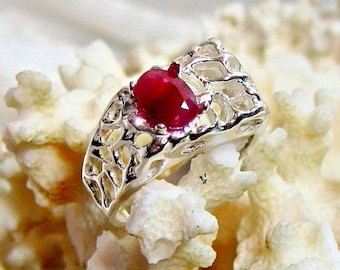 8x6 Genuine Ruby Ring, Mens Ruby Ring 925 Sterling Silver Ring, Size 9