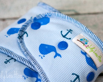 """Cozy Serged Hybrid Fitted Cloth Diaper- """"Whales and Anchors"""""""