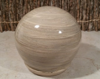 READY TO SHIP - Pottery Cremation Urn - Wheel Thrown Clay - Keepsake Cremains Jar For Family Member or Pet Ashes - Globe - Up to 24 lb